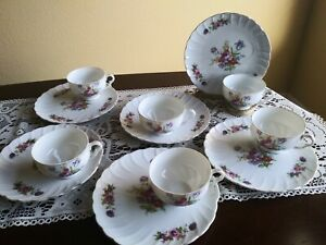 Lot-of-6-Tea-cup-and-Snack-Plate-sets-Floral-Design