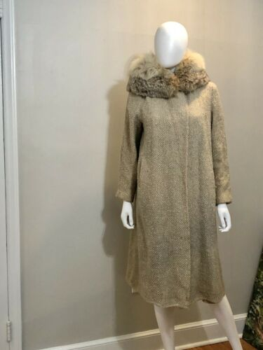Vintage Fur Collar Cocoon Coat 1920s Beige Small