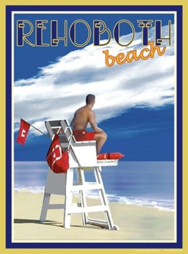 Vintage Art Deco Style Travel Poster-by Aurelio Grisanty Rehoboth Lifeguard