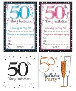 Image Is Loading AGE 50 50th BIRTHDAY Party Invitations Amp Envelopes