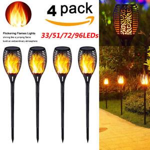 Lot-de-1-4-DEL-energie-solaire-torche-lumiere-clignotante-flamme-jardin-etanche-lampe-de-cour