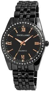 Excellanc-Damenuhr-Schwarz-Strass-Analog-Metall-Quarz-Armbanduhr-X1800150002