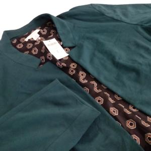 Chico's Women Size 3 Open Cardigan Jacket Green Long Sleeve Zipper Pocket 03365