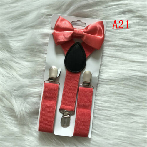 Baby Boys Kids Suspender and Bow Tie Matching Set Tuxedo Weddings Suits Party R