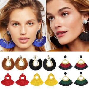 Women-Fashion-Bohemian-Long-Tassel-Fringe-Dangle-Drop-Earrings-Ear-Stud-Jewelry