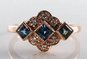 CLASS-9K-9CT-ROSE-GOLD-BLUE-SAPPHIRE-DIAMOND-ART-DECO-INS-RING-FREE-RESIZE
