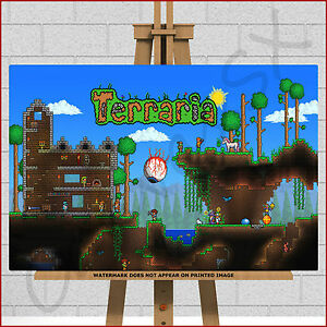 Details about Terraria Game ( Like Minecraft ) Canvas Framed Box Print  Picture Poster 20x12 A3