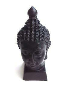 BUDDHA HEAD BLACK STATUE MINIATURE THAI AMULET FIGURINE SCULPTURE HOME ROOM ART