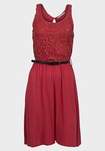 EX-CHAINSTORE-Deslumbrante-Rojo-Encaje-Vestido-Patinador-Top-reg-Plus-Size-8-10-12-14