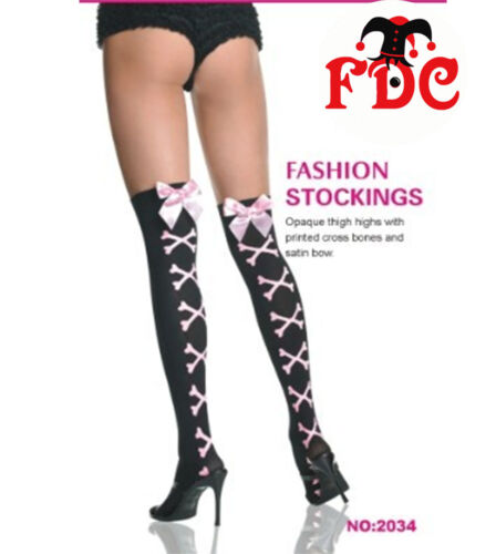 BLACK PIRATE THIGH HIGH SHEER STOCKINGS WITH PINK RED WHITE BOWS N BONES ST2034