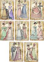 Vintage inspired regency Jane Austen friends stationery set of 8 envelopes