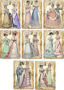 Vintage-inspired-regency-Jane-Austen-friends-cards-tags-ATC-altered-art-set-of-8