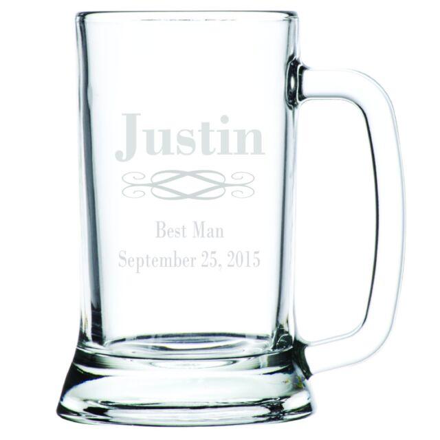 1-8 Groomsman Best Man Personalised Engraved Beer Glass Stein Mug Tankard Gift