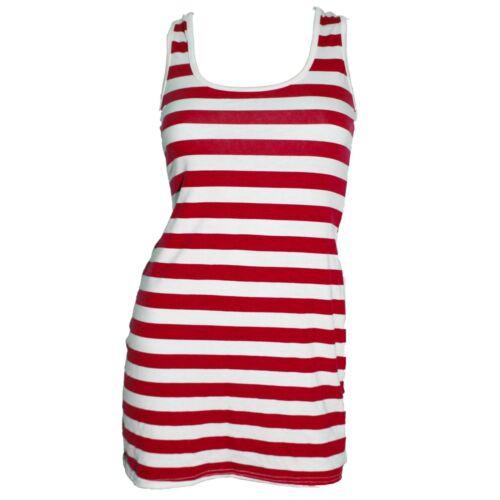 RED WHITE STRIPE  POLKA DOT LONG TOP  FANCY DRESS  ALTERNATIVE SLEEVELESS