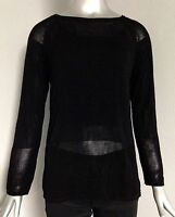 525 America Women's Pullover Scoop Neck Sheer Paneled Knit Sweater L