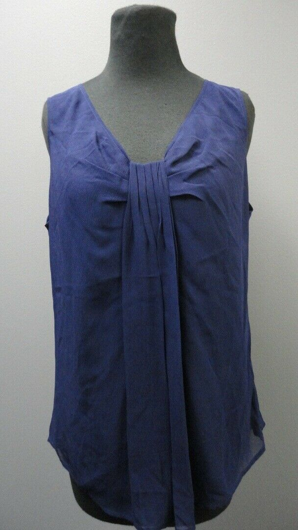 ST. JOHN COUTURE Ink Silk Sleeveless Scoop Neck Solid Blouse NWT Sz 14 GG3732