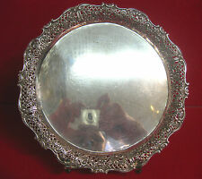 Schale Tablett Silber Durchbruch 800 W Teller Korbrand Floral