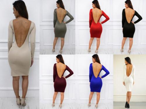Glamzam New Womens Ladies Long Sleeve Low Back Backless Midi Bodycon Dress