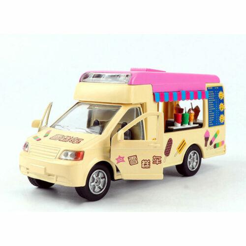 1:32 Fast Food Ice Cream Truck Voiture Modèle Métal Moulé Sous Pression cadeau jouet enfants lumière sonore