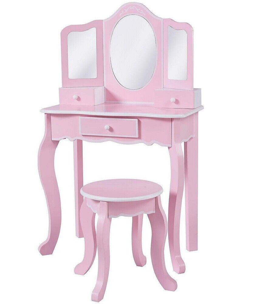 teamson girl fashion pink vanity table and stool set