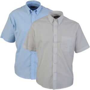 Oxford-Shirt-Button-Collar-Work-Office-Smart-Short-Sleeves-White-or-Lt-Blue