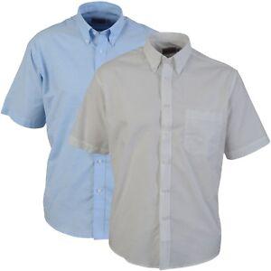 Oxford-Shirt-Business-Regular-Collar-Work-Smart-Short-Sleeves-White-or-Lt-Blue