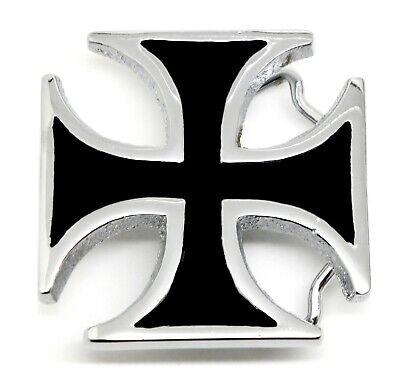 Maltese Cross Belt Buckle Black /& Silver Solid Brass Authentic Baron Buckles