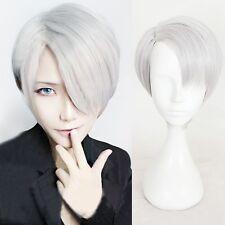 Cool Viktor Nikiforov Mens Anime Wig Short Straight Silver Hair Harajuku Wig