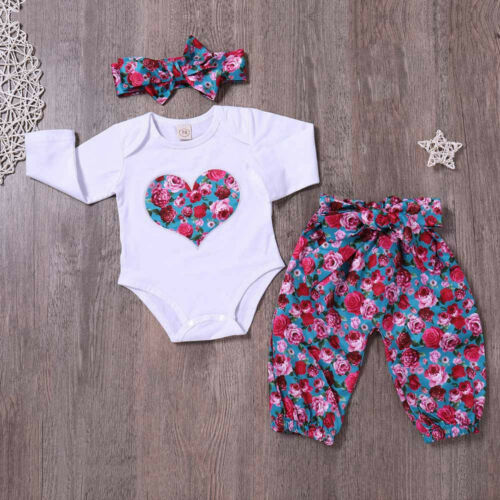 Toddler Baby Gilrs Long Sleeve Romper Top+Pant Headband 3PC Floral Set Outfits