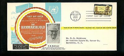 US FDC #1206 TX / Texas Refinery Corp M-33 1962 New York NY UN Dag Hammarskjold
