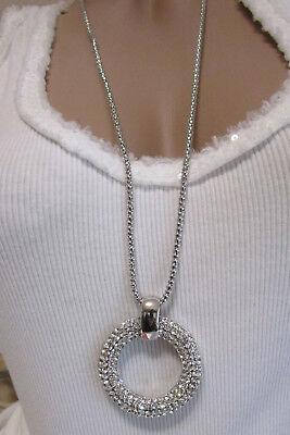 Neu Damen Halskette Kreis Rund Lang Strass Silber Kette