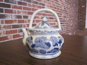 Small Decorative Ceramic Porcelain White With Blue