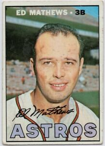1967-Topps-166-Eddie-Mathews-VG-VGEX-Houston-Astros-FREE-SHIPPING