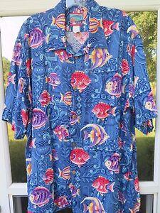 Joe-Kealohas-Men-Short-Sleeve-Rayon-Tropical-Fish-Genuine-Hawaiian-Camp-Shirt-XL