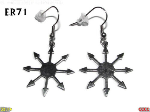 steampunk earrings silver chaos star symbol hypoallergenic stainless steel #ER71