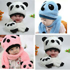 Winter Baby Girl Boy Warm Cute Panda style Hat Cap Beanie Scarf Set 4 Colors