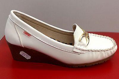 Damen Schuhe Mokassins Loafers Keilabsatz Pumps Bequem Ballerina Weiß Komfort