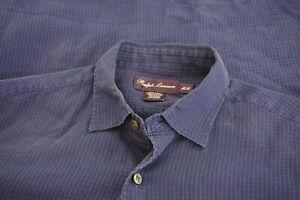 Ralph-Lauren-Purple-Label-100-Cotton-Blue-Textured-Plaid-Long-Sleeve-Shirt-Sz-M