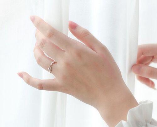 Femmes Argent Sterling Zircone cubique Coeur /& Love DEUX Way ajuster Ouvert Bague//Joint Ring 6.5