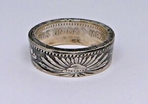 Coin-ring-made-from-SILVER-MEXICAN-50-centavos-in-size-7-14-viva-Mexico-random