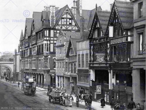 CHESTER EASTGATE STREET AND NEWGATE STREET ENGLAND OLD BW PHOTO PRINT 412BW