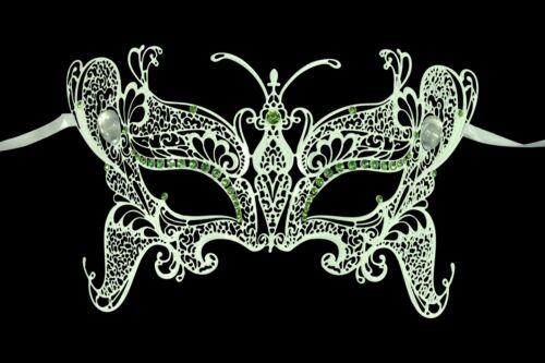 Exclusive KAYSO INC Butterfly Laser Cut Masquerade Mask with Rhinestones
