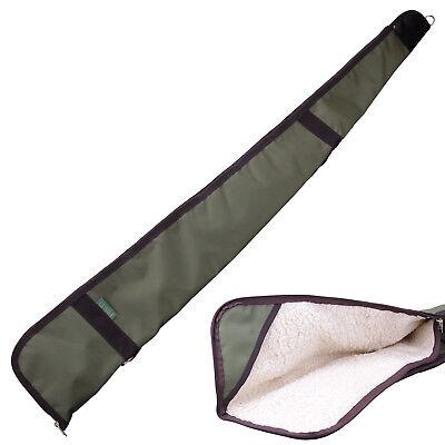 "Bisley Shotgun Green Canvas Cover Case 54"" Gun Slip Waterproof Sheepskin Fleece"