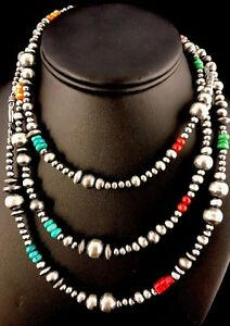 Native-American-Navajo-Pearls-Sterling-Silver-Bead-Necklace-36-034-Long-S423