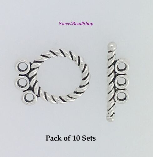 Pack of 10 Antique Silver Rope Design 3 Plage T Bar TOGGLE CLASPS