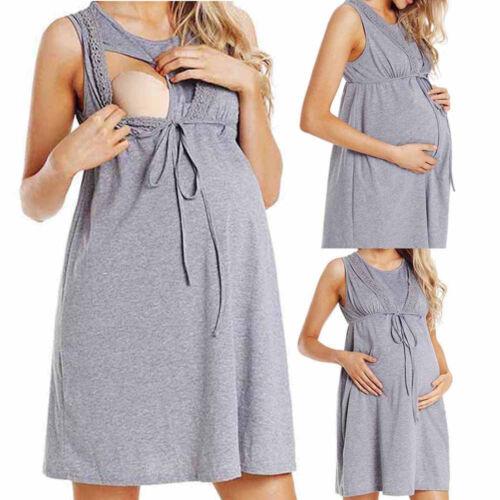 UK Womens Maternity Nursing Pregnancy Care Wrap High Waist Lace Sleeveless Dress