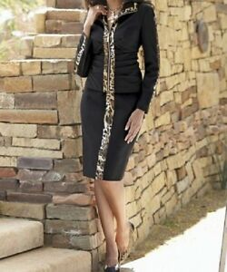 sz 14 Animal Trim Skirt Suit from Midnight Velvet new