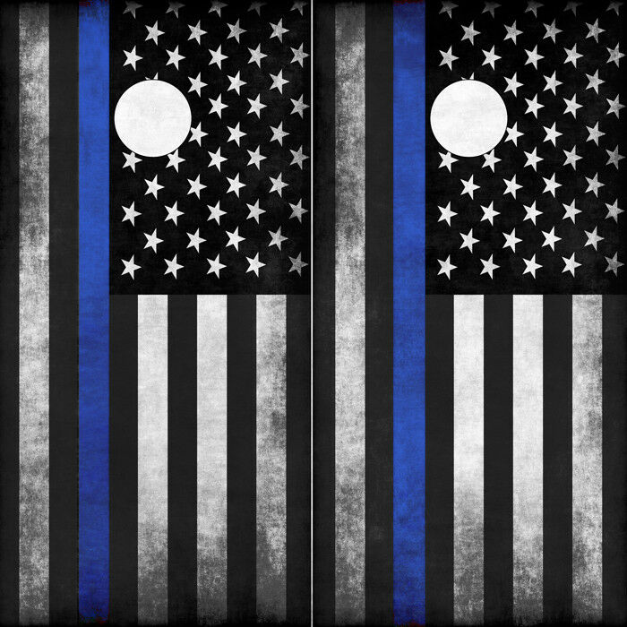Cornhole Wraps Thin bluee Line Police  Flag Cornhole Decals Set of 2 American Flag  lightning delivery