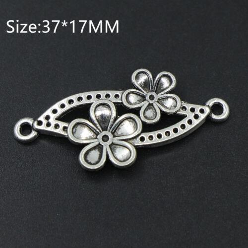 7PCS Tibetan Silver Retro Flower Connector Charms Pendant Fit Crafts Bracelet