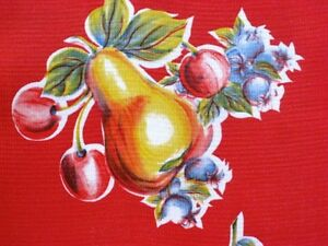 Red Pear Apple Retro Country Kitchen Patio Dine Oilcloth